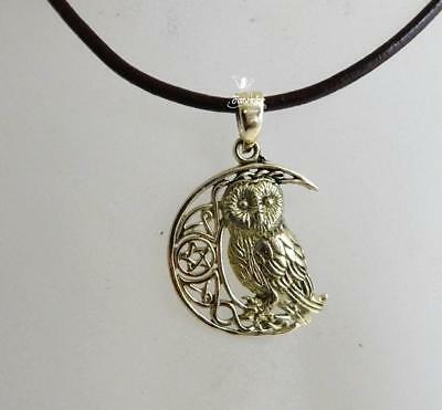 Bronze Owl On Pentagram Moon necklace by Lisa Parker pagan pendant on waxed cord