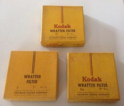 "Vintage KODAK WRATTEN FILTER 3"" SQ square Cemented Glass A/56/G Orignal Box LOT"