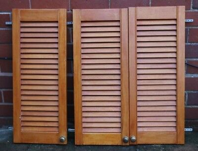 """Louvre doors 3x open vented slatted with hinges Used 12 x 30"""""""