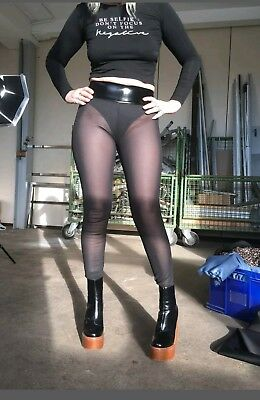 Leggings Cheeky Wedge  Cameltoe HL2AW Powernet/Lackbund Größe L Schwarz