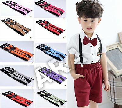Unisex Boys Girl Child Kids Clip-on Suspenders Elastic Y-Shape Adjustable Braces