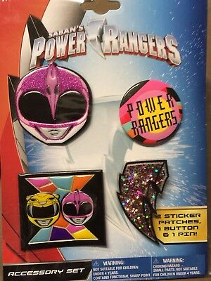 SABAN Brand Power Rangers Patch-Sticker-Button & Pin Accessory Sets Lot Of 12