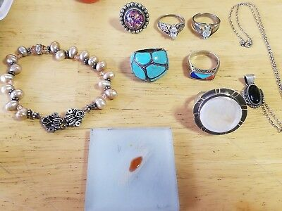 sterling silver jewelry with various stones and some pink pearls not scrap