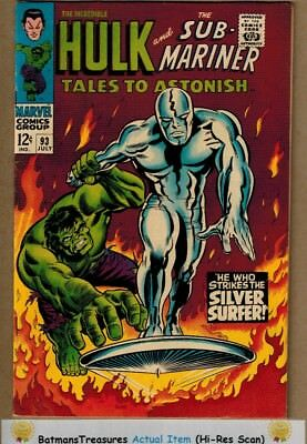 Tales to Astonish #93 (9.0) VF/NM Silver Surfer vs Hulk 1967 Silver Age Stan Lee