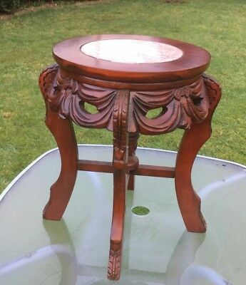 Vintage Antique Small Marble and Wood Carved Table