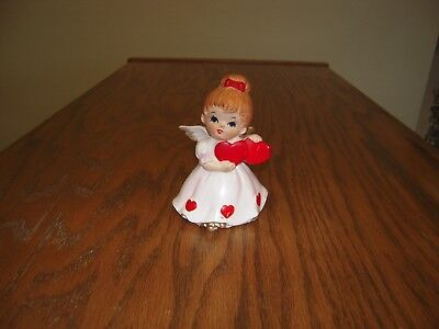 """Vintage LEFTON ANGEL GIRL WITH TWO HEARTS 7699 VALENTINES DAY 4"""" tall"""