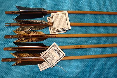 5 Native American Arrows w/Mixed Black & Tan feathers w/real stone arrowheads!!