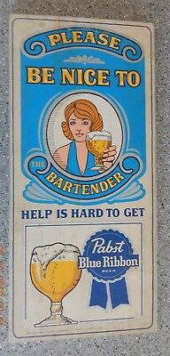 Pabst Blue Ribbon 1960's - 70's Vintage Wooden Sign