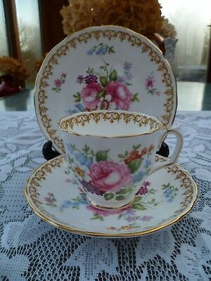 Lovely Vintage Crown Staffordshire China Trio Tea Cup Saucer England's Bouquet
