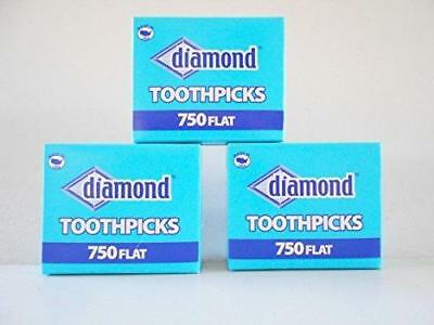 Wooden Flat Toothpicks 3-pack (2250 Total) Tray Box