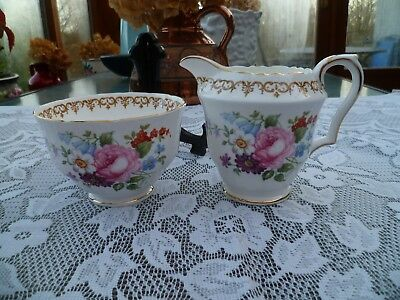 Lovely Vintage Crown Staffordshire China Milk Jug  Sugar Bowl England's Bouquet