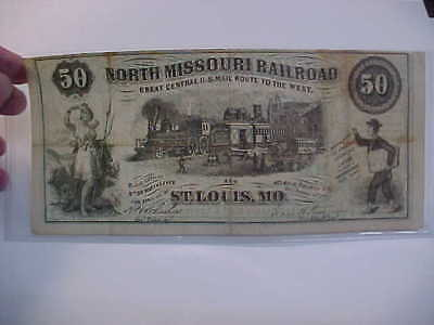 North Missouri Railroad St Louis Mo 50 Obsolete Advertising Currency / Map