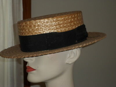 """Vintage 1920's """"Quality De Luxe"""" Straw Hat - Boater Skimmer Hat - Size 7 - Italy"""