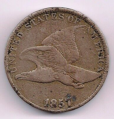 1857 1C Flying Eagle Cent Great Details Lots of Feathers showing