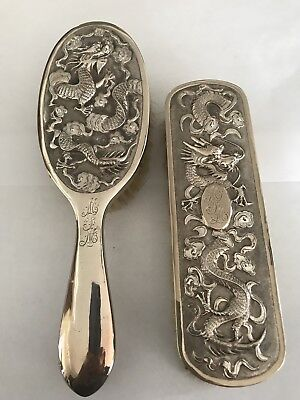 ANTIQUE CHINESE EXPORT SILVER DRAGONS HAIR BRUSHES by WING CHUN late 19th c.