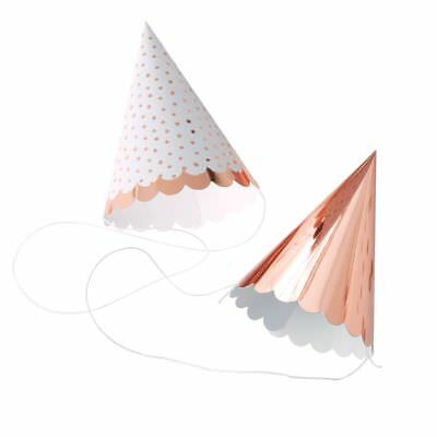 Rose Gold & Spotty Mini Party Hats, Birthday Party Hats - pack of 6