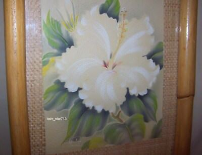 Vintage Hawaiian Hale Pua Painting Original Bamboo Frame Hibiscus Flower 1940's