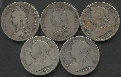 Great Britain Lot of 5 Half Crowns 1889-1898