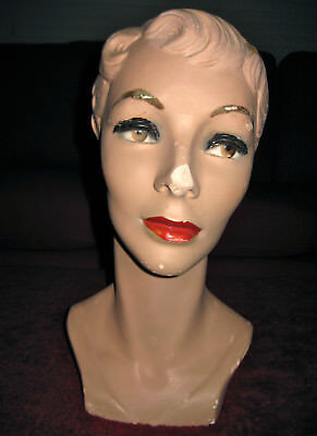 1950'S ORIGINAL MANNEQUIN HEAD PLASTER ELEGANT LADY BROWN EYES marked FH104