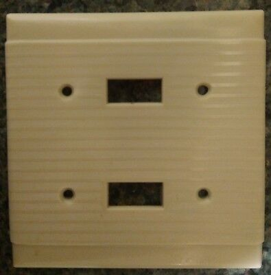 Set of Two - Vintage Bakelite Ribbed Double Light Switch Plate Wall Cover Ivory