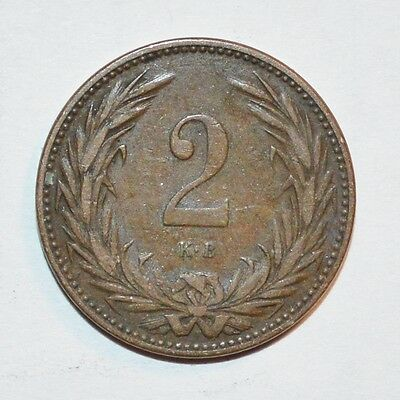 1897 HUNGARY world 2 FILLER foreign coin FINE COLLECTIBLE