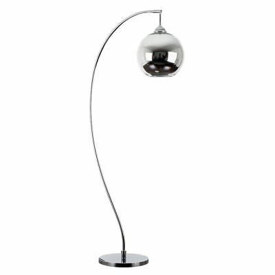 Modern Design Style Polished Chrome Curved Bow Shaped Floor Lamp with a Silver