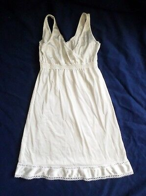 Vintage Girls Full Slip Silky White Nylon Dainty Lace Trim See Measurements