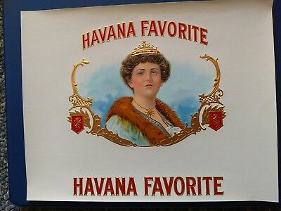 HAVANA FAVORITE INNER CIGAR BOX LABEL OLD & ORIGINAL 1930's Embossed vintage