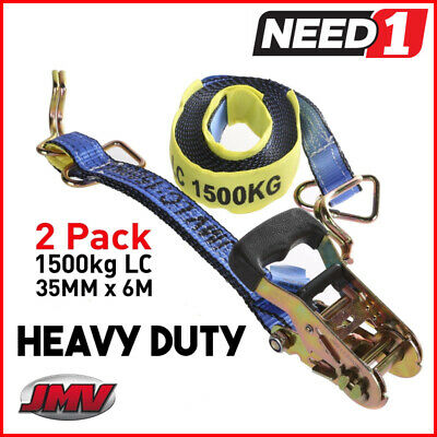 (2 Pack) Ratchet Strap Tie Down Assembly | 35mm x 6M | LC 1500kg | Hook & Keeper