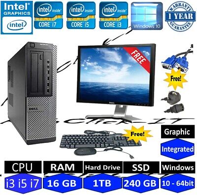 DELL Quad-Core i5 or i3 DESKTOP TOWER PC & LCD  WIN10 & 16GB 2TB OR 240GB SSD
