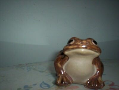 Vintage? Brown & Tan Frog/toad Figurine Ceramic/stoneware Hollow