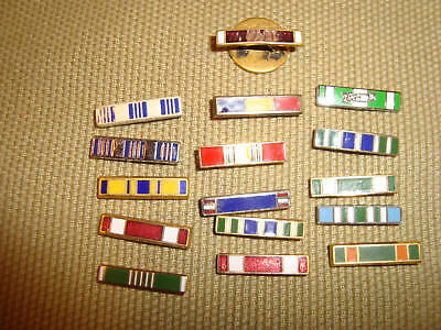 Modern or Older US Army Navy Air Force Marines Lapel Ribbon Pin Lot of 14