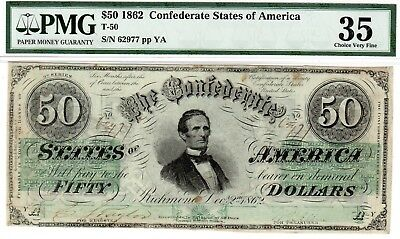 T-50 PF-13 $50 Confederate Paper Money 1862 - PMG Choice Very Fine 35!