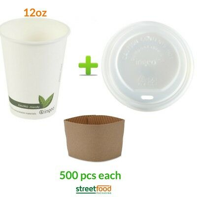 12oz White Compostable Paper Cup with Biodegradable Lids & Brown Coffee Sleeves