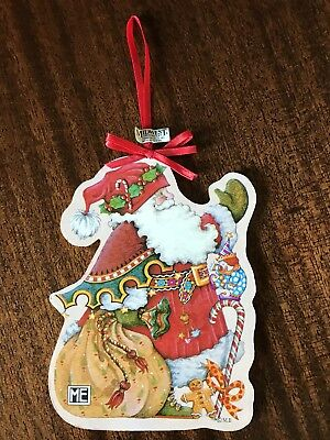 Mary Engelbreit Santa Carrying Sack Wood Ornament Candy Midwest Cannon Falls