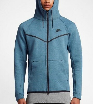 NIKE AIR TECH Fleece Windrunner Smokey Blue Hoodie Men's