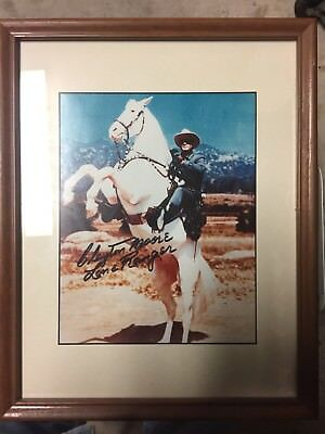 Clayton Moore, The Lone Ranger-Signed 8X10 Color Photo Nicely Framed