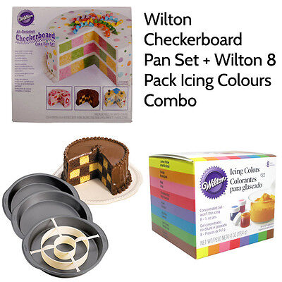 Wilton Checkerboard Cake Pan Tin Set + 8 Icing Food Colours Gels Combo - Pack