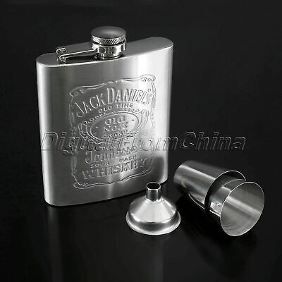 Mens Gift Liquor Hip Flask Whiskey Alcohol Wine Flagon Bottle &Funnel &Cup Steel