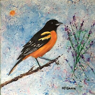 Original Oil On Canvas Painting By Artist- Tanager - 12 X 12 - $225