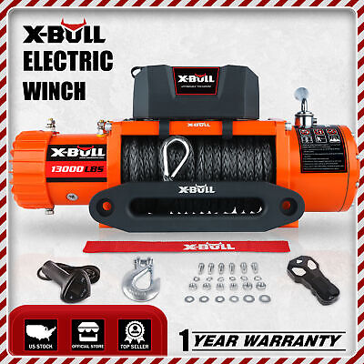 X-BULL 13000LBS  Electric Winch12V Waterproof Truck Trailer Synthetic Rope 4WD