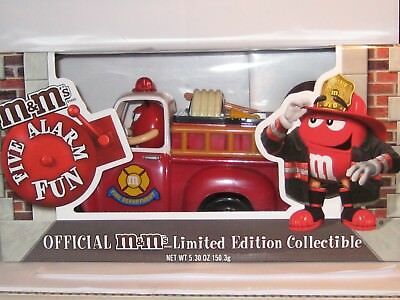 M&M'S ~ Fire Truck Dispenser ~ Never removed from box ~ Red's Fire House