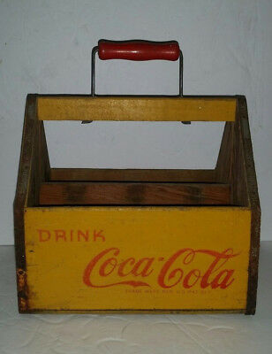 Vintage 1940's YELLOW WOODEN COCA COLA Coke Soda Pop 6 PACK Bottle Carrier