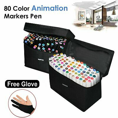 New Marker Pen 80 Color Set Graphic Animation Art Sketch Twin Point + Bag