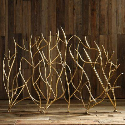 Uttermost Branches Decorative Fireplace Screen, Gold
