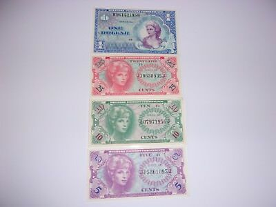 Military pay certificates, Series 661, lot of 4. $1, 25c, 10c and 5c notes.