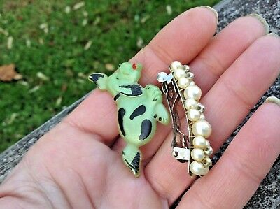 Vintage lot of 2 Small Hair Clasps Barrettes-Celluloid Puppy-Pearls