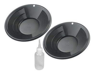 "2 Pack 10"" Dual Riffle Black Gold Pan Pans w/ Snuffer Bottle Mining Panning Kit"