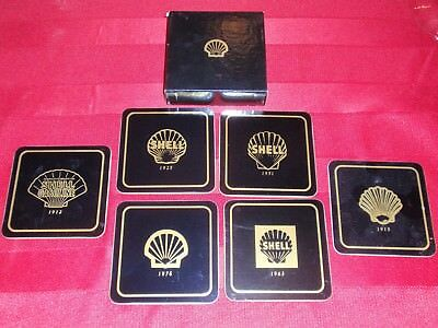 SHELL OIL COASTER COMPLETE SET of 6 - Different Years of Pecten Changes