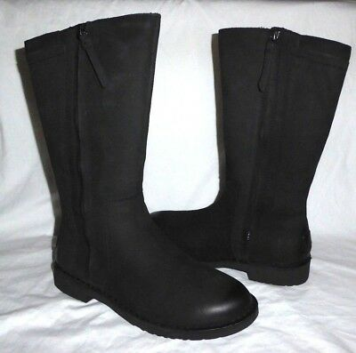 f3d6cdd8307 Ugg Elly Black Nubuck Leather Tall Zip Up Wool Lined Boots Us7.5 Nib Msrp  $230